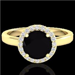 Natural 2 CTW Halo Diamond Certified Micro Pave Ring Solitaire Bridal 18K Yellow Gold - 21621-REF#-6