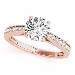 0.40 CTW Certified SI-I Diamond Solitaire Bridal  Ring 18K Rose Gold - 27622-#52Y4X