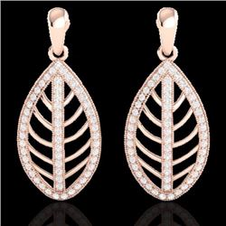 Natural 2 CTW Micro Pave Diamond Certified Designer Earrings 14K Rose Gold - 21473-REF#-117Z6R