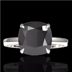 Natural 6 CTW Black Diamond Designer Inspired Solitaire Engagement RNG 18K White Gold - 22175-REF#-1