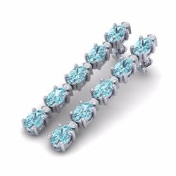 10.36 CTW SKY BLUE TOPAZ & DIAMOND SI-I CERTIFIED TENNIS EARRINGS - 29410-#44Y7Z