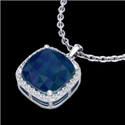 Natural 6 CTW Sapphire & Micro Pave Halo Diamond Necklace Solitaire 18K White Gold - 23086-REF#-49M5