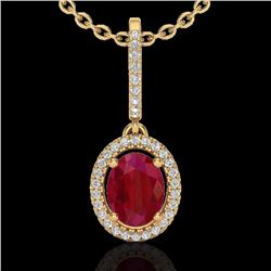 Natural 2 CTW Ruby & Micro Pave Diamond Necklace Solitaire Halo 18K Yellow Gold - 20668-REF#-47M3F