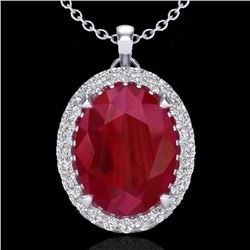 Natural 2.75 CTW Ruby & Micro Diamond Certified Halo Solitaire Necklace 18K White Gold - 20596-REF#-
