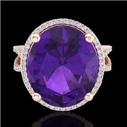 Natural 10 CTW Amethyst & Micro Pave Diamond Certified Halo Ring 14K Rose Gold - 20951-REF#-81M2F