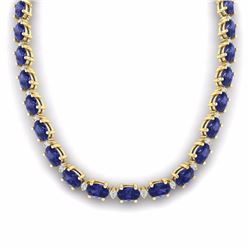 61.85 CTW TANZANITE & DIAMOND SI-I CERTIFIED ETERNITY TENNIS NECKLACE - 29521-#1012M8R