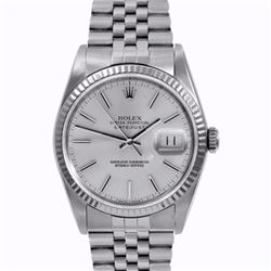 Pre-owned Excellent Condition Authentic Rolex Quickset Men's Stainless Steel DateJust Silver Dial Wa