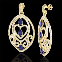 Natural 7 CTW Tanzanite & Micro Pave Diamond Heart Earrings Designer IN 18K Yellow Gold - 21164-REF#
