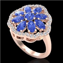 Natural 3 CTW Tanzanite & Diamond Certified Cluster Designer Halo Ring 10K Rose Gold - 20788-REF#-48