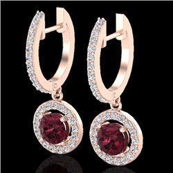 Natural 1.75 CTW Garnet & Micro Halo Solitaire Diamond Certified Earrings 14K Rose Gold - 23257-REF#