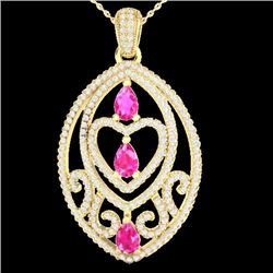 Natural 3.50 CTW PINK Sapphire & Micro Diamond Heart Necklace IN 18K Yellow Gold - 21291-REF#-141T7K