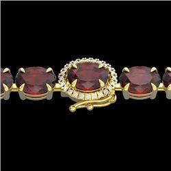 Natural 32 CTW Garnet & Diamond Eternity Tennis Micro Halo Bracelet 14K Yellow Gold - 23427-REF#-83Z