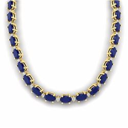 55.50 CTW SAPPHIRE & DIAMOND SI-I CERTIFIED ETERNITY TENNIS NECKLACE - 29434-#213Y3V