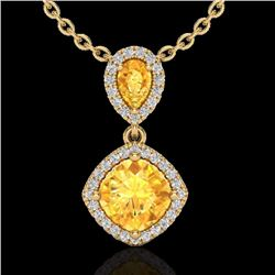 Natural 2.63 CTW Citrine & Micro Diamond Certified Necklace Designer Halo 10K Yellow Gold - 20543-RE