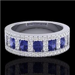 Natural 1.75 CTW Tanzanite & Micro Pave Diamond Inspired Ring 10K White Gold - 20831-REF#-52T5K