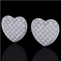 Natural 1.50 Designer CTW Micro Pave Diamond Certified Heart Earrings 14K White Gold - 20177-REF#-75