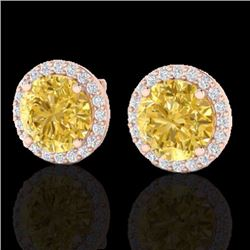 Natural 4 CTW Citrine & Halo Diamond Micro Pave Earrings Solitaire 14K Rose Gold - 21485-REF#-43R2H