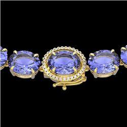 Natural 127 CTW Tanzanite & Diamond Halo Micro Eternity Necklace 14K Yellow Gold - 22318-REF#-2100V2