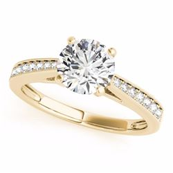 0.40 CTW Certified SI-I Diamond Solitaire Bridal  Ring 18K Yellow Gold - 27623-#52A4V