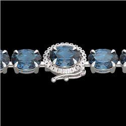 Natural 36 CTW London Blue Topaz & Diamond Tennis Micro Halo Bracelet 14K White Gold - 23446-REF#-89