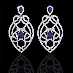 Natural 7 CTW Tanzanite & Micro Diamond Heart Earrings Solitaire 14K White Gold - 21143-REF#-237W6G