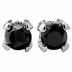 Natural 2.0 ctw Black & White Diamond Solitaire Stud Earrings 14K White Gold - 11852-#44V2A