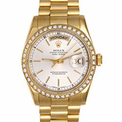 Pre-owned Excellent Condition Authentic Rolex Quickset Men's 18K Yellow Gold Day-Date Silver Dial Wa