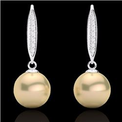Natural .18 CTW Micro Pave Diamond Certified & Golden Pearl Designer Earrings 18K White Gold - 22632