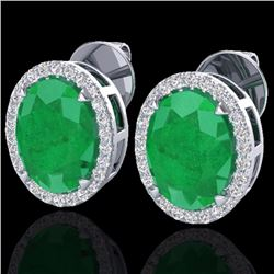 Natural 5.50 CTW Emerald & Micro Diamond Halo Solitaire Earrings Ring 18K White Gold - 20248-REF#-62