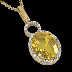 Natural 3 CTW Citrine & Micro Pave Solitaire Halo Diamond Necklace 14K Yellow Gold - 22758-REF#-34F7