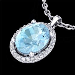 Natural 2.50 CTW Aquamarine & Micro Diamond Certified Necklace Halo 18K White Gold - 21070-REF#-48G5