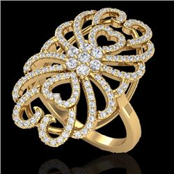 Natural 2.25 CTW Micro Pave Diamond Certified Designer Inspired Ring 18K Yellow Gold - 20888-REF#-15