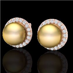 Natural .50 CTW Micro Pave Halo Diamond Certified & Golden Pearl Earrings 14K Rose Gold - 21493-REF#