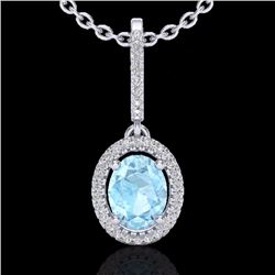 Natural 1.75 CTW Aquamarine & Micro Diamond Necklace Solitaire Halo 18K White Gold - 20650-REF#-52X3