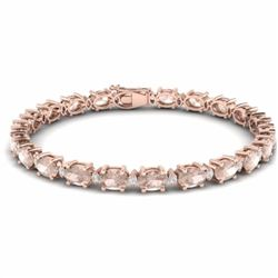 21.20 CTW MORGANITE & DIAMOND SI-I CERTIFIED ETERNITY TENNIS BRACELET - 29456-#300X2W