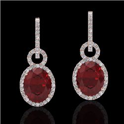 Natural 8 CTW Garnet & Micro Pave Solitaire Halo Diamond Earrings 14K Rose Gold - 22737-REF#-83N2A