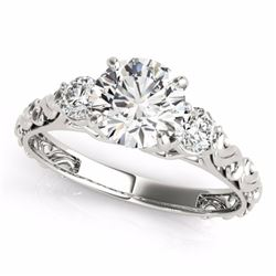 0.75 CTW Certified SI-I Diamond 3 stone Bridal  Ring 18K White Gold - 28038-#90X4Y