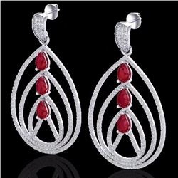 Natural 4 CTW Ruby & Micro Pave Diamond Certified Designer Earrings 18K White Gold - 22457-REF#-204V
