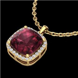 Natural 6 CTW Garnet & Micro Pave Halo Diamond Necklace Solitaire 18K Yellow Gold - 23083-REF#-45G8N