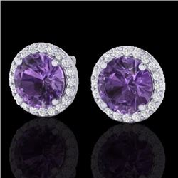 Natural 4 CTW Amethyst & Halo Diamond Micro Pave Earrings Solitaire 18K White Gold - 21477-REF#-50G7