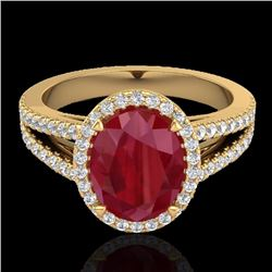 Natural 3 CTW Ruby & Micro Pave Diamond Halo Solitaire Bridal Ring 18K Yellow Gold - 20948-REF#-55M8