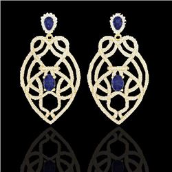Natural 7 CTW Tanzanite & Micro Pave Diamond Earrings Designer Solitaire 14K Yellow Gold - 21144-REF