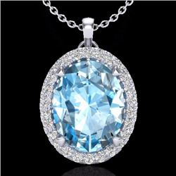 Natural 2.75 CTW Sky Blue Topaz & Micro Diamond Halo Solitaire Necklace 18K White Gold - 20582-REF#-