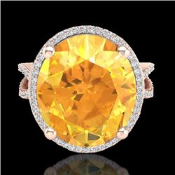 Natural 10 CTW Citrine & Micro Pave Diamond Certified Halo Ring 14K Rose Gold - 20957-REF#-64V5Y