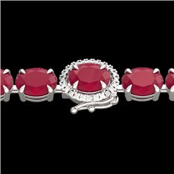 Natural 37 CTW Ruby & Diamond Eternity Tennis Micro Halo Bracelet 14K White Gold - 23438-REF#-120Y3Z