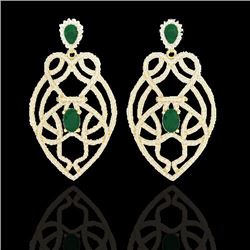 Natural 7 CTW Emerald & Micro Diamond Heart Earrings Designer Solitaire 14K Yellow Gold - 21137-REF#