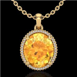 Natural 10 CTW Citrine & Micro Pave Diamond Certified Halo Necklace 18K Yellow Gold - 20608-REF#-79Y