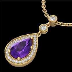 Natural 2.25 CTW Amethyst & Micro Pave Diamond Necklace Designer 18K Yellow Gold - 23129-REF#-36Y2Z