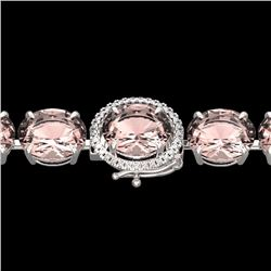 Natural 44 CTW Morganite & Micro Pave Diamond Halo Bracelet 14K White Gold - 22269-REF#-635R3H