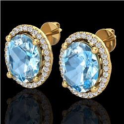 Natural 6 CTW Sky Blue Topaz & Micro Diamond Certified Earrings Halo 18K Yellow Gold - 21049-REF#-57